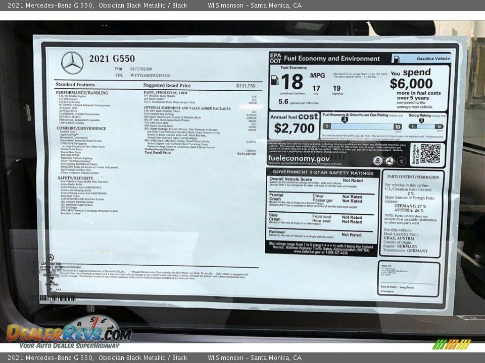2021 Mercedes-Benz G 550 Obsidian Black Metallic / Black Photo #11