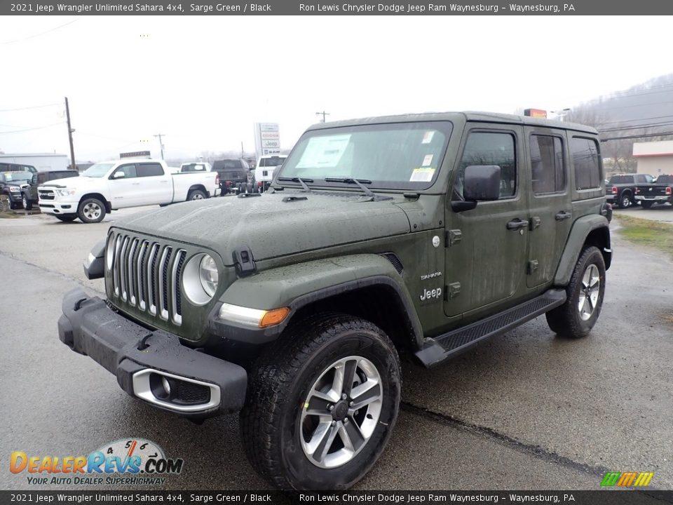 2021 Jeep Wrangler Unlimited Sahara 4x4 Sarge Green / Black Photo #1