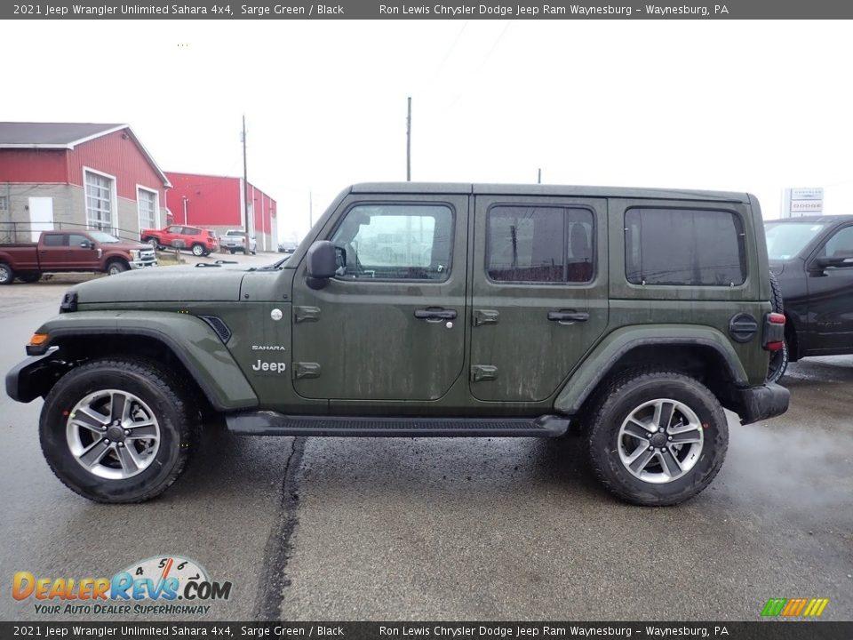 2021 Jeep Wrangler Unlimited Sahara 4x4 Sarge Green / Black Photo #3