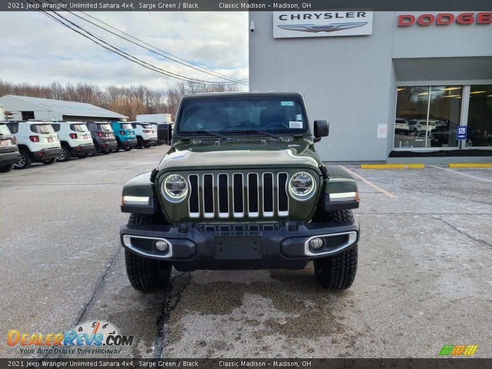 2021 Jeep Wrangler Unlimited Sahara 4x4 Sarge Green / Black Photo #7