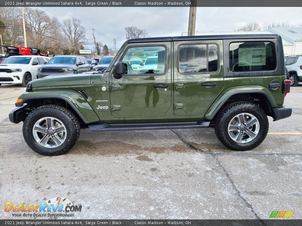 2021 Jeep Wrangler Unlimited Sahara 4x4 Sarge Green / Black Photo #8