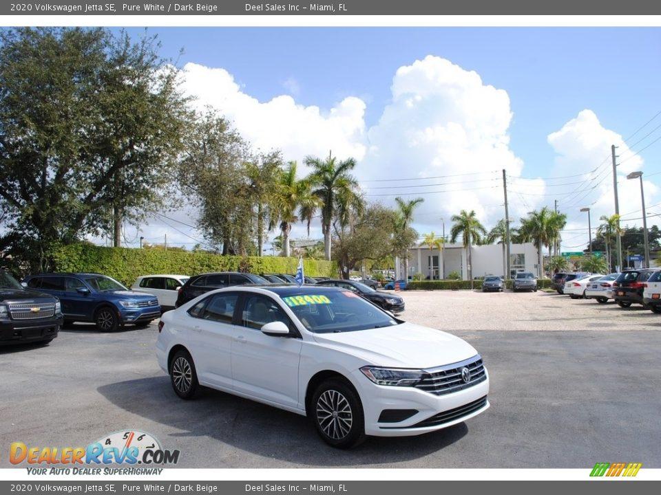 2020 Volkswagen Jetta SE Pure White / Dark Beige Photo #1