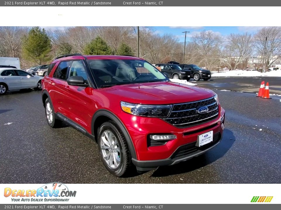 2021 Ford Explorer XLT 4WD Rapid Red Metallic / Sandstone Photo #1