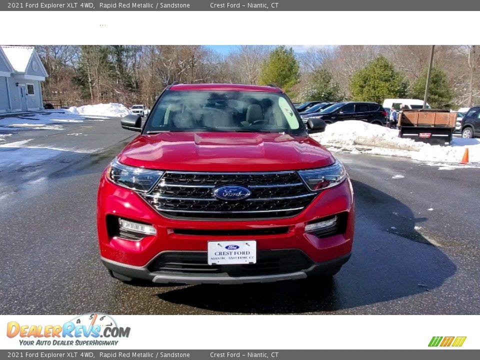 2021 Ford Explorer XLT 4WD Rapid Red Metallic / Sandstone Photo #2