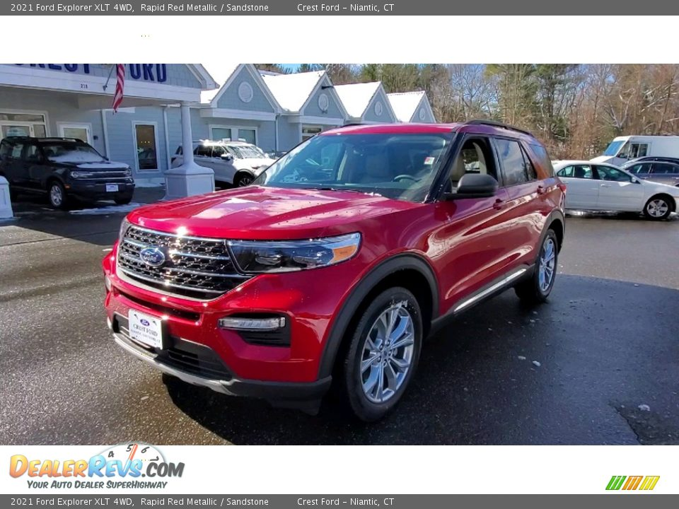 2021 Ford Explorer XLT 4WD Rapid Red Metallic / Sandstone Photo #3