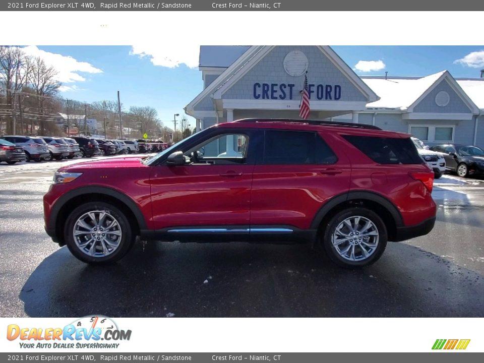 2021 Ford Explorer XLT 4WD Rapid Red Metallic / Sandstone Photo #4