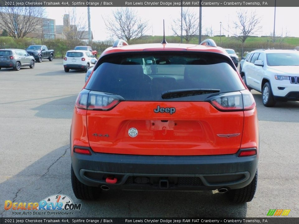 2021 Jeep Cherokee Traihawk 4x4 Spitfire Orange / Black Photo #6