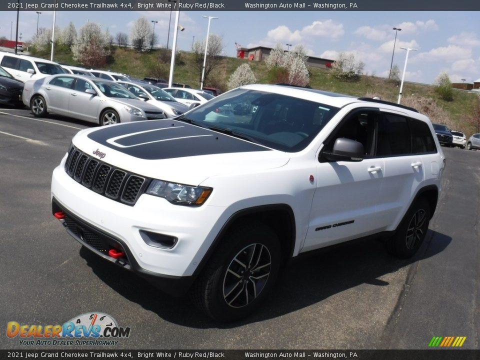 2021 Jeep Grand Cherokee Trailhawk 4x4 Bright White / Ruby Red/Black Photo #7