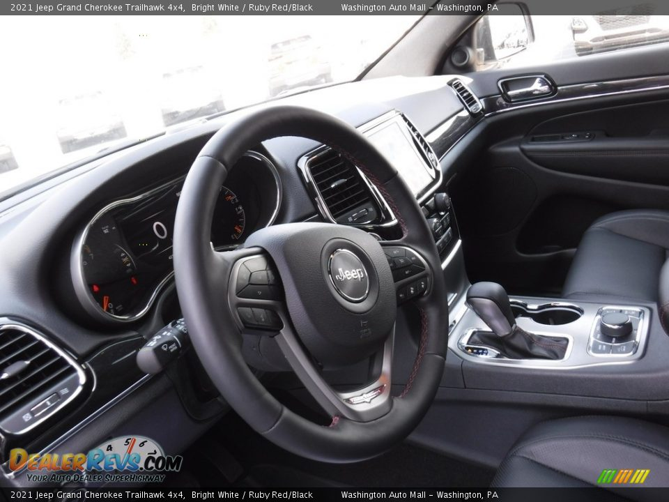2021 Jeep Grand Cherokee Trailhawk 4x4 Bright White / Ruby Red/Black Photo #15