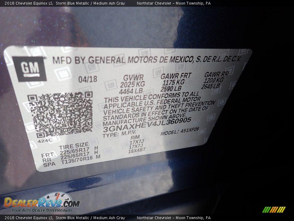 2018 Chevrolet Equinox LS Storm Blue Metallic / Medium Ash Gray Photo #28