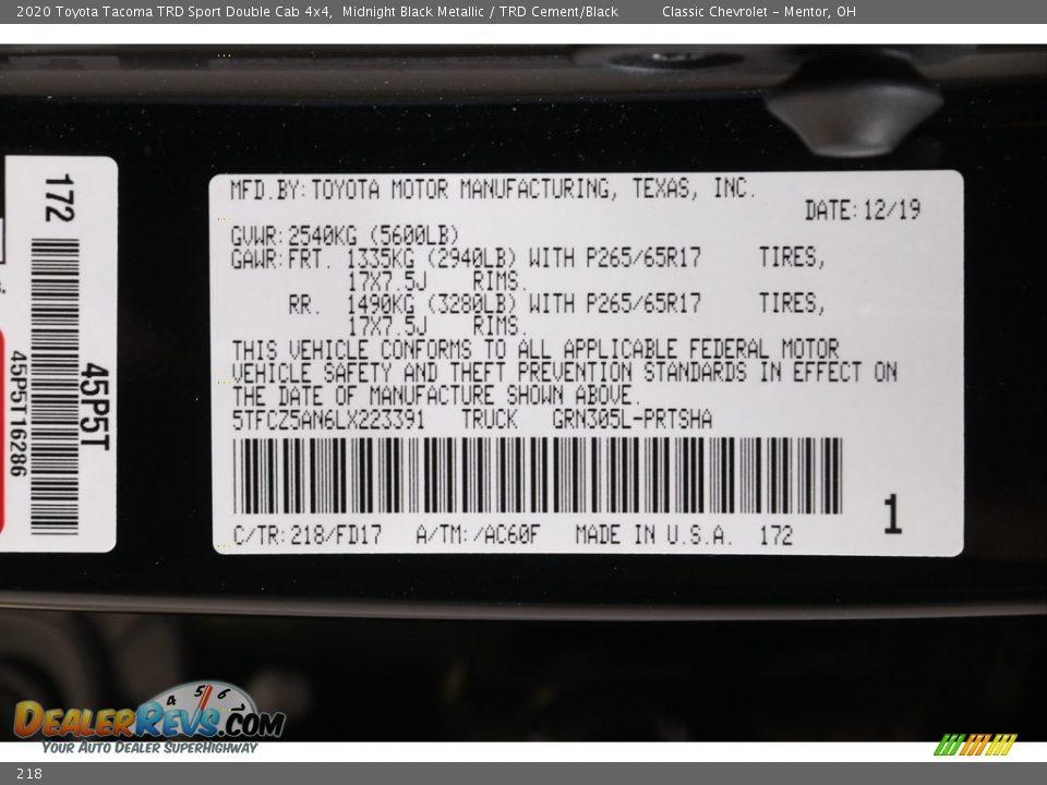 Toyota Color Code 218 Midnight Black Metallic