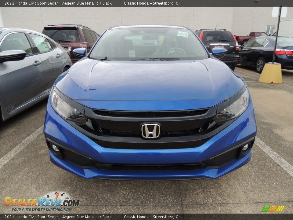 2021 Honda Civic Sport Sedan Aegean Blue Metallic / Black Photo #2