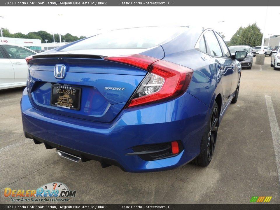 2021 Honda Civic Sport Sedan Aegean Blue Metallic / Black Photo #4