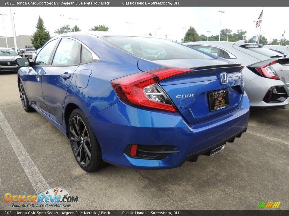 2021 Honda Civic Sport Sedan Aegean Blue Metallic / Black Photo #5