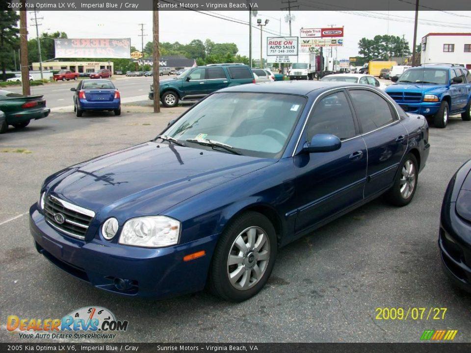 2005 Kia Optima Lx V6 Imperial Blue Gray Photo 3