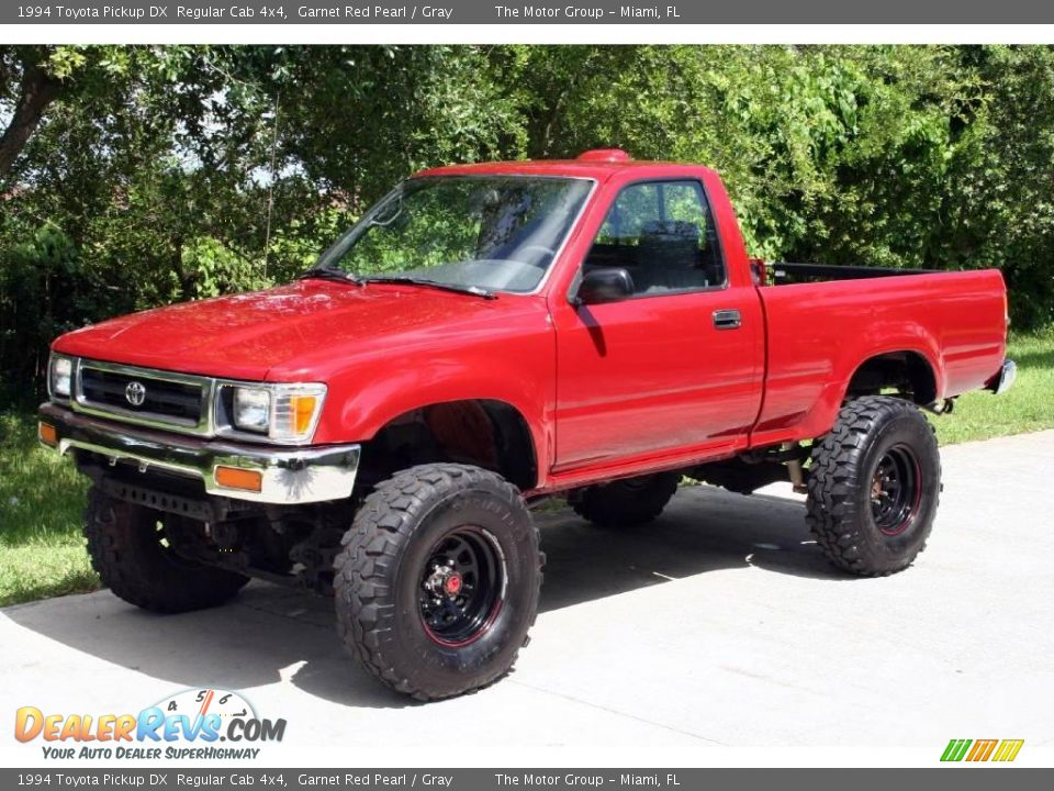 1994 toyota pickup dx regular cab 4x4 garnet red pearl gray photo 1. Black Bedroom Furniture Sets. Home Design Ideas