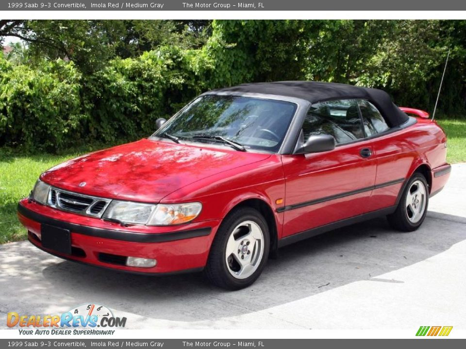 1999 saab 9 3 convertible imola red medium gray photo 1. Black Bedroom Furniture Sets. Home Design Ideas