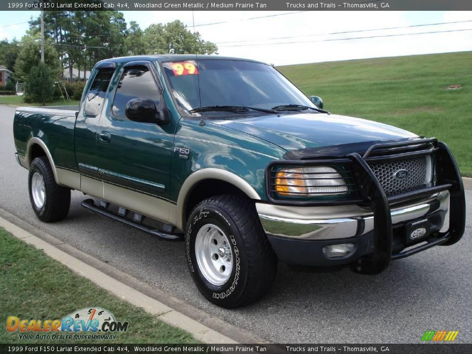 1999 Ford F150 Lariat Extended Cab 4x4 Woodland Green border=