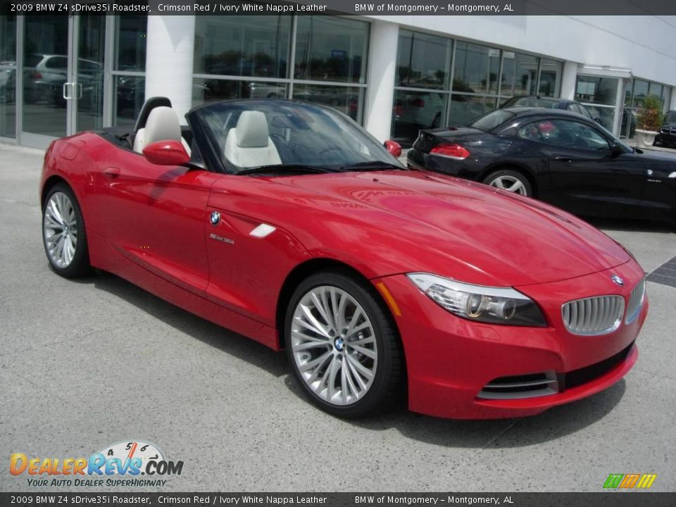 2009 Bmw Z4 Sdrive35i Roadster Crimson Red Ivory White Nappa Leather Photo 3 Dealerrevs Com