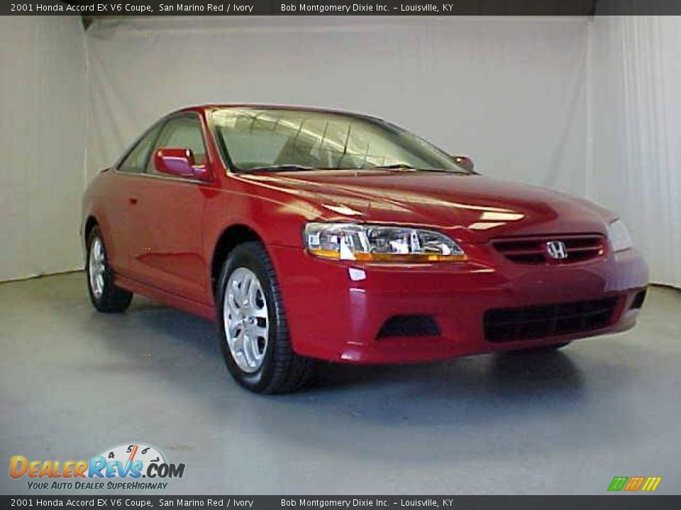 2001 honda accord ex v6 coupe san marino red ivory photo. Black Bedroom Furniture Sets. Home Design Ideas