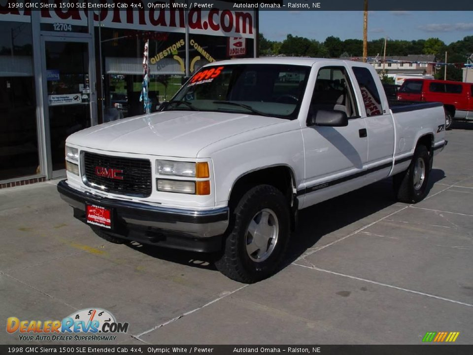 1998 gmc sierra 1500 sle extended cab 4x4 olympic white. Black Bedroom Furniture Sets. Home Design Ideas