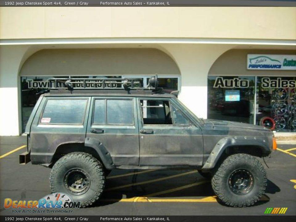 1992 jeep cherokee sport 4x4 green gray photo 4 dealerrevs com