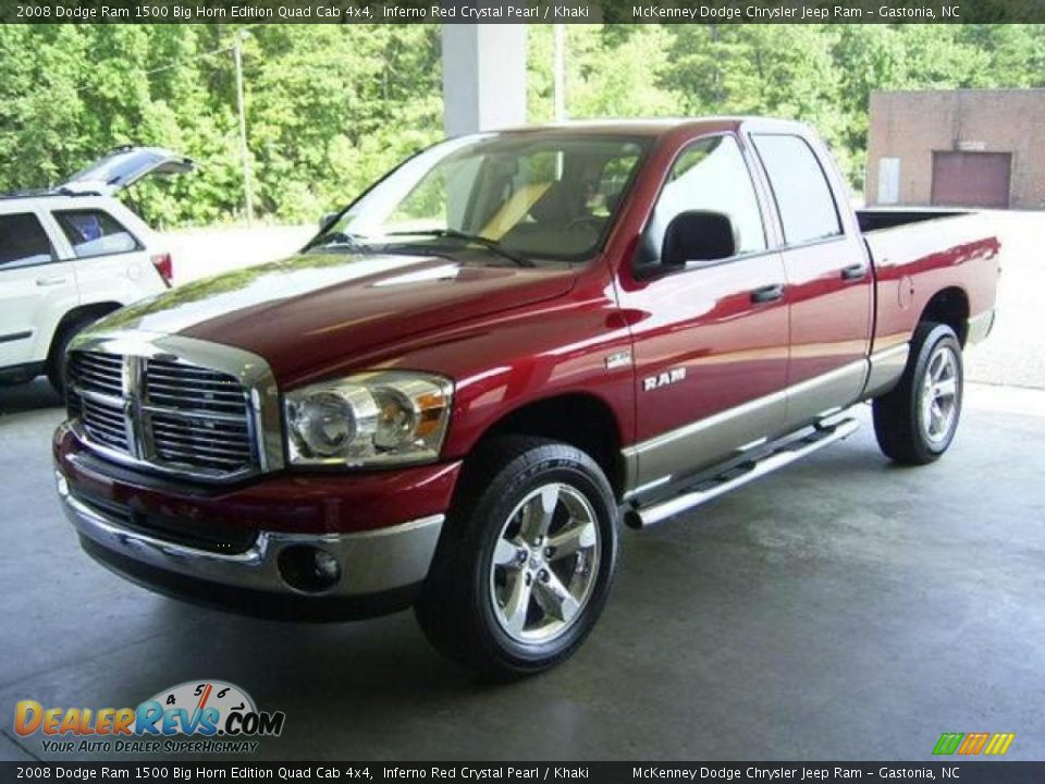 2008 dodge ram 1500 big horn edition quad cab 4x4 inferno red crystal pearl khaki photo 1. Black Bedroom Furniture Sets. Home Design Ideas