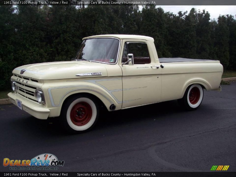 1961 ford f100 pickup truck yellow red photo 2. Black Bedroom Furniture Sets. Home Design Ideas