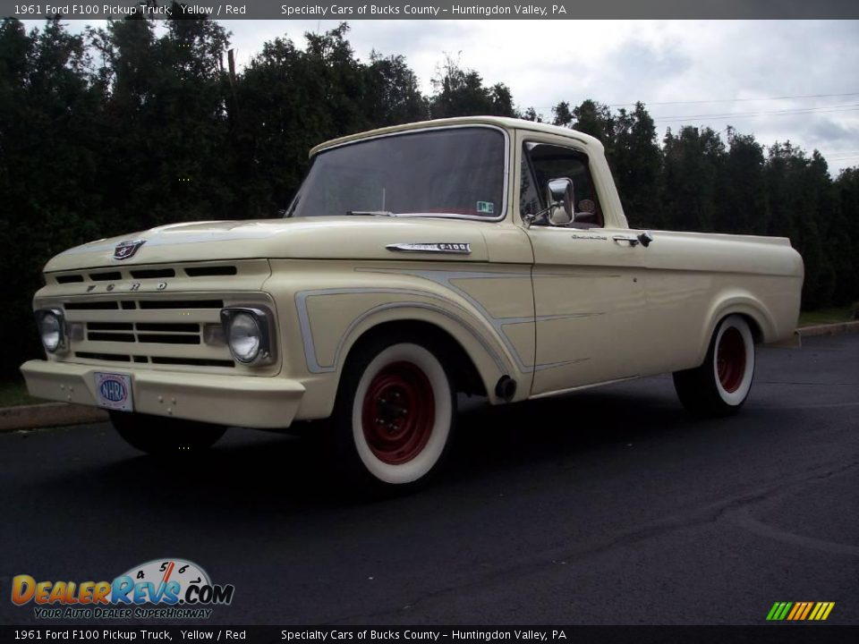 1961 ford f100 pickup truck yellow red photo 3. Black Bedroom Furniture Sets. Home Design Ideas