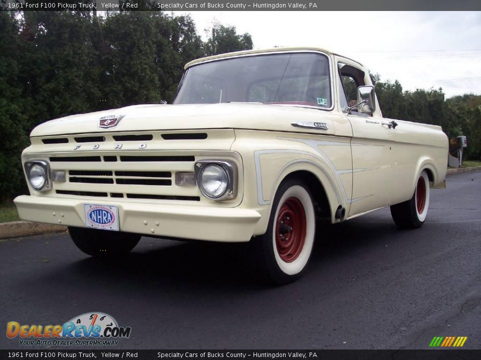 1961 ford f100 pickup truck yellow red photo 4. Black Bedroom Furniture Sets. Home Design Ideas