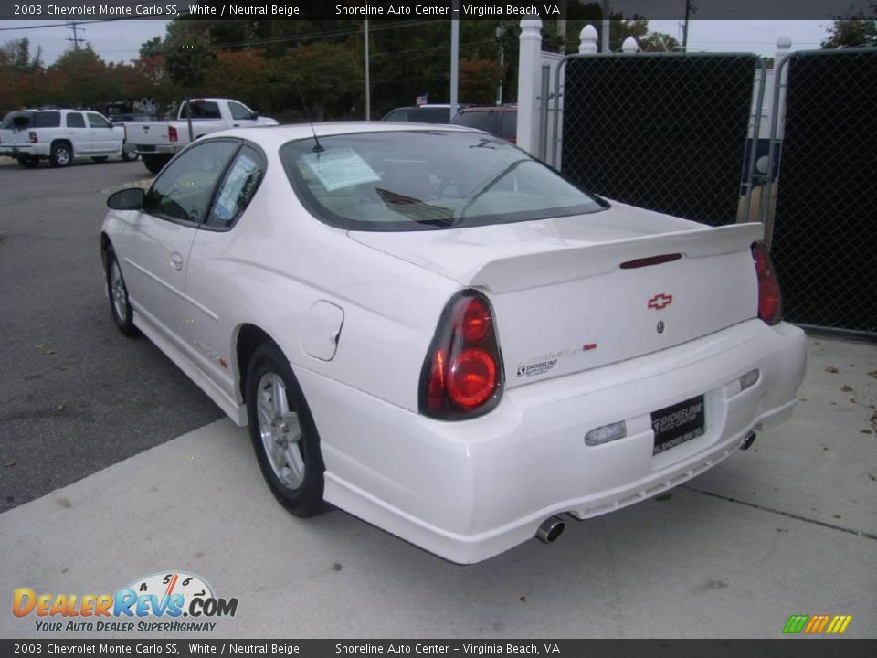 2003 Chevrolet Monte Carlo SS White / Neutral Beige Photo #6