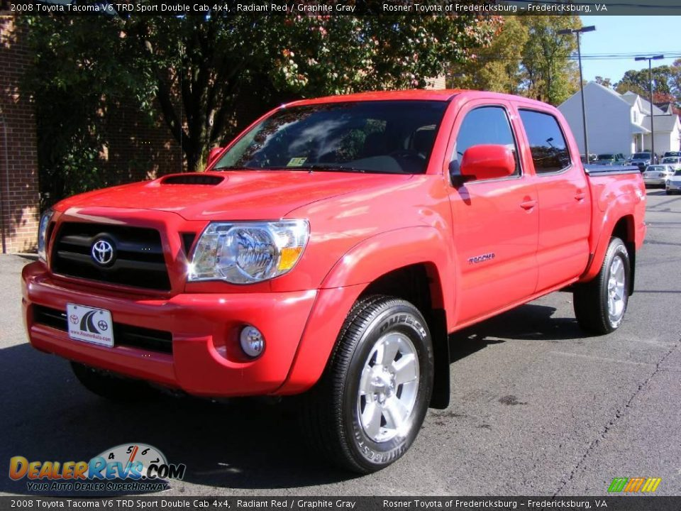 2008 toyota tacoma v6 trd sport double cab 4x4 radiant red graphite gray photo 1. Black Bedroom Furniture Sets. Home Design Ideas