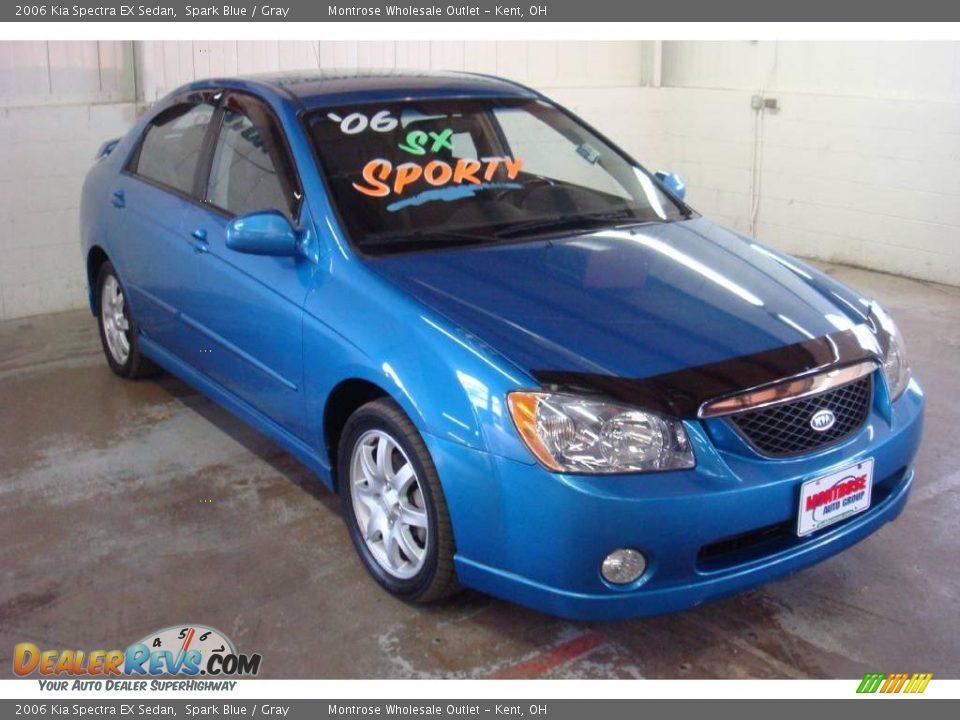 2006 Kia Spectra Ex Sedan Spark Blue Gray Photo 6