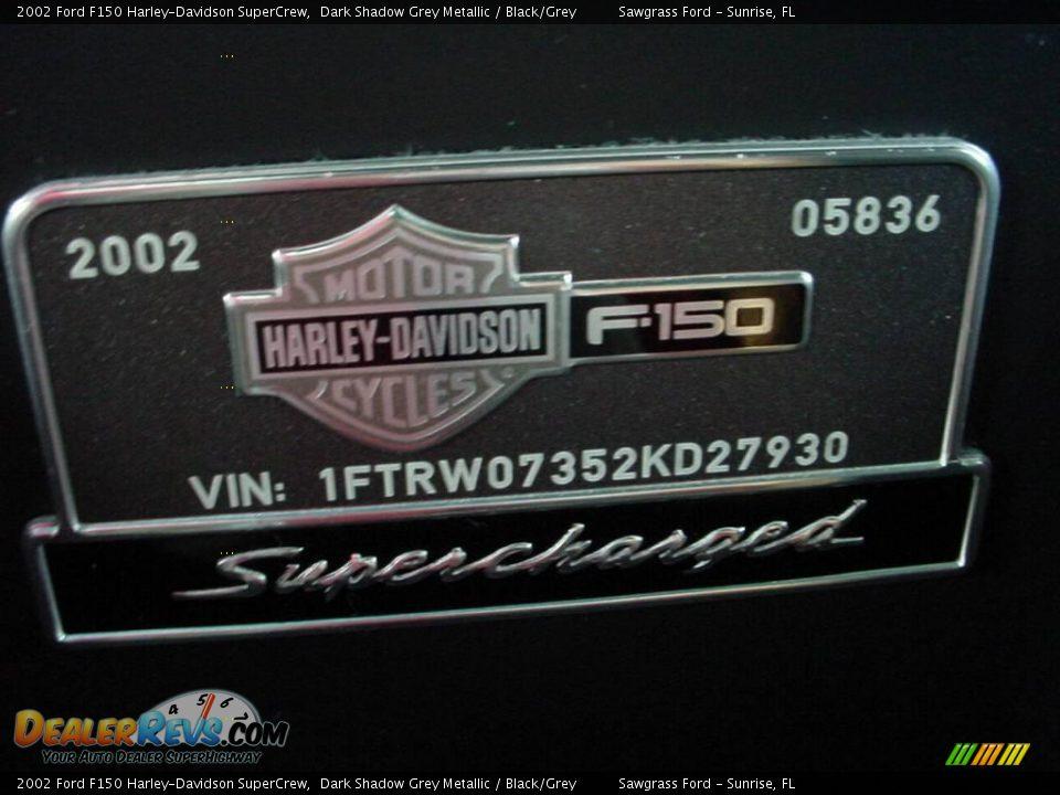 2002 Ford F150 Harley-Davidson SuperCrew Dark Shadow Grey Metallic / Black/Grey Photo #21