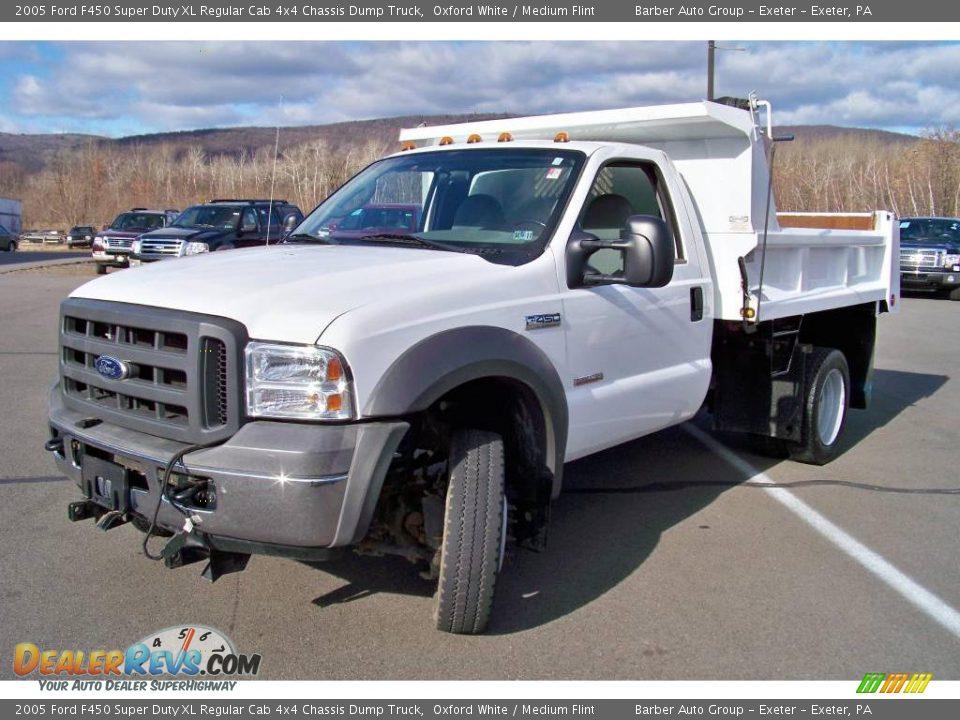 2005 Ford F450 Super Duty Xl Regular Cab 4x4 Chassis Dump Truck Oxford White    Medium Flint