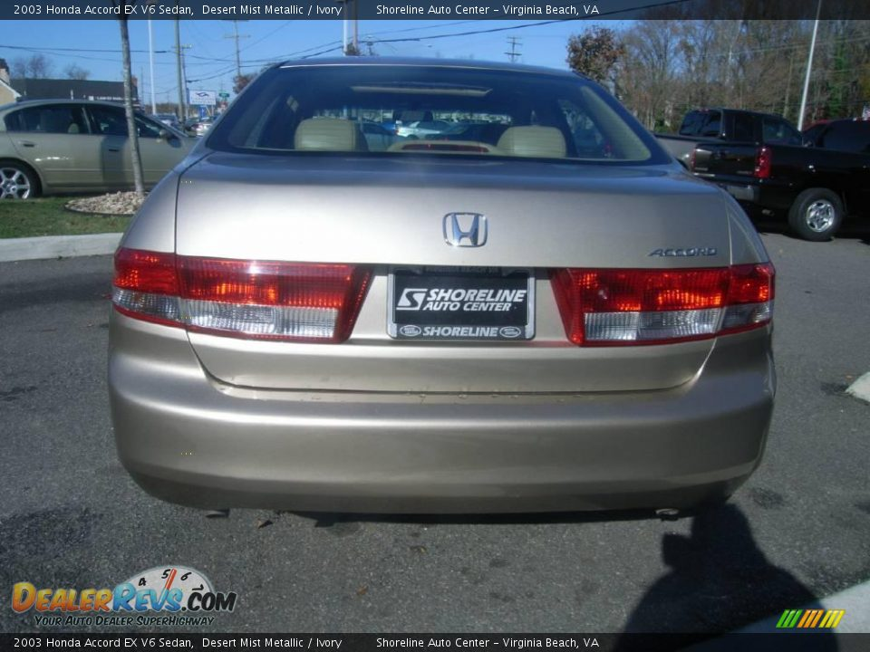 2003 honda accord ex v6 sedan desert mist metallic ivory