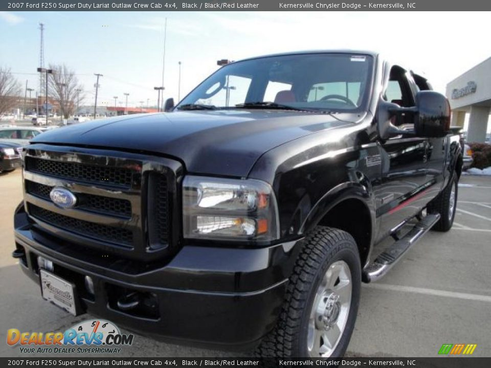 2007 ford f250 super duty lariat outlaw crew cab 4x4 black black red leather photo 7. Black Bedroom Furniture Sets. Home Design Ideas