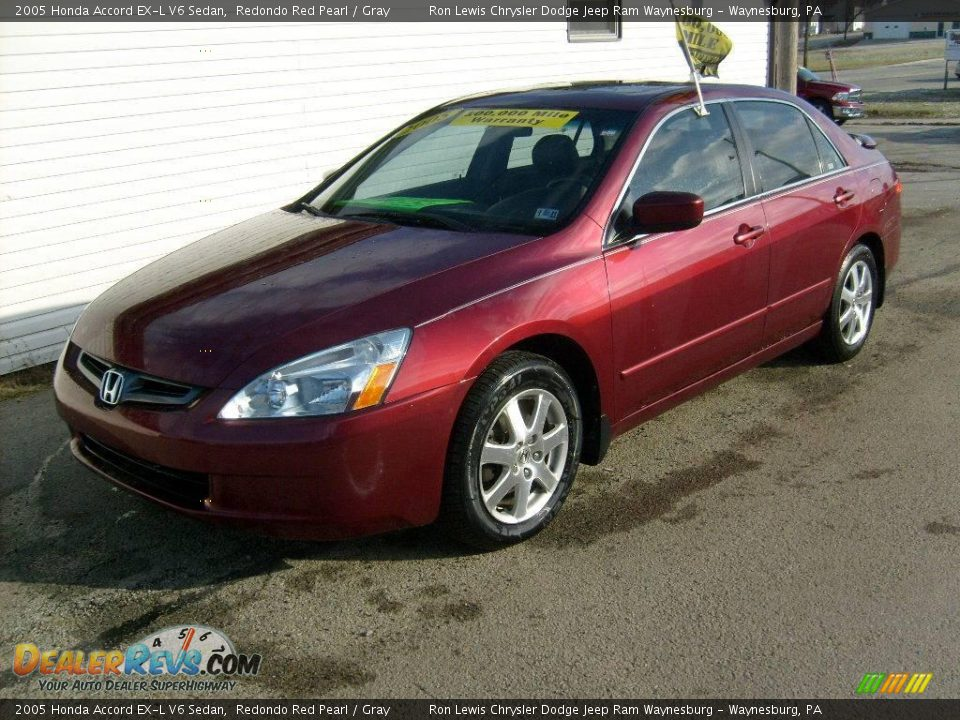 2005 honda accord ex l v6 sedan redondo red pearl gray. Black Bedroom Furniture Sets. Home Design Ideas