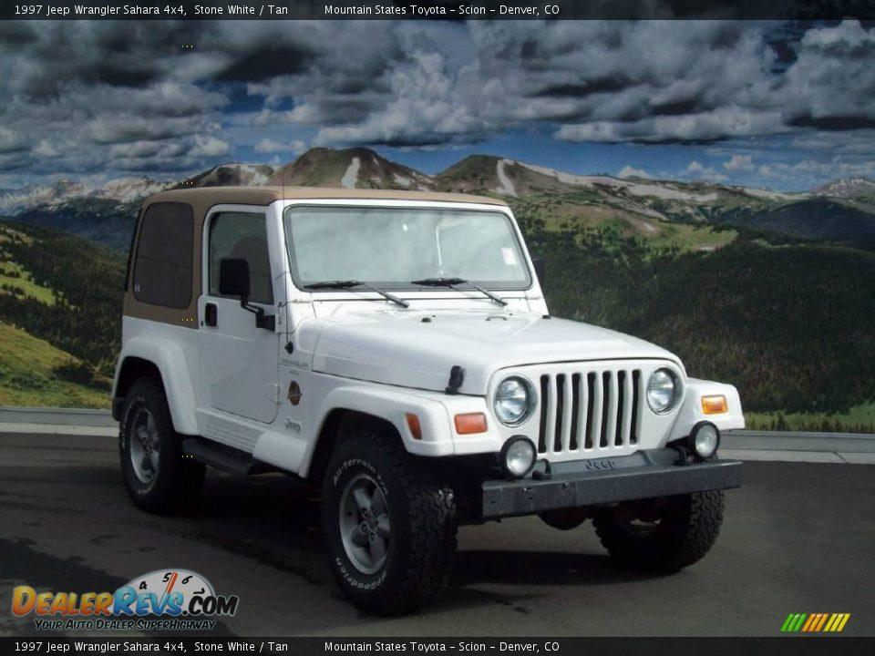1997 jeep wrangler sahara 4x4 stone white tan photo 1. Black Bedroom Furniture Sets. Home Design Ideas