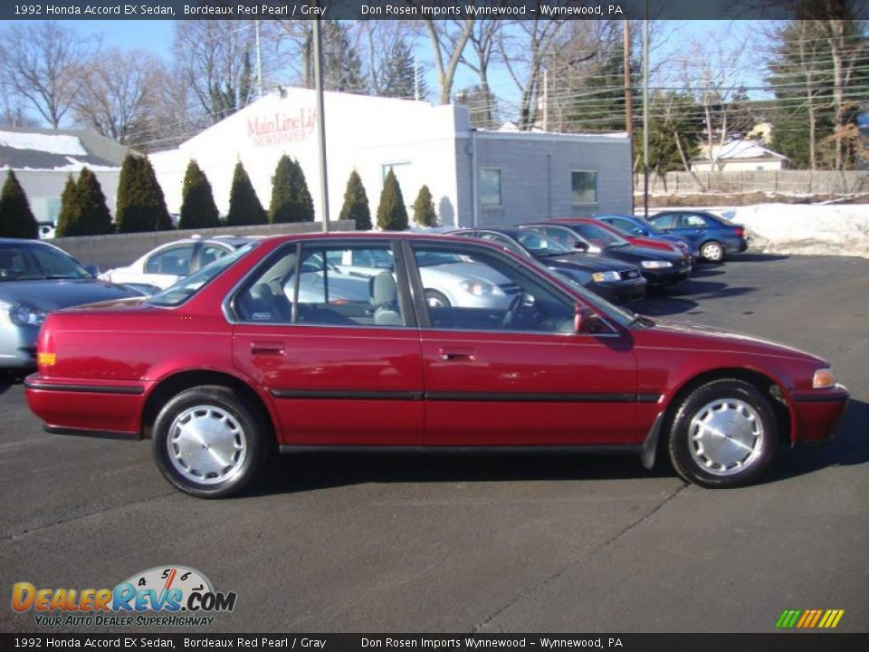 1992 Honda Accord Ex Sedan Bordeaux Red Pearl Gray Photo