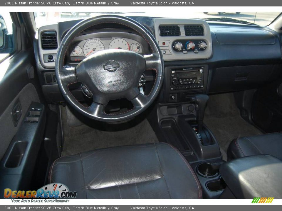 2001 Nissan Frontier SC V6 Crew Cab Electric Blue Metallic / Gray ...