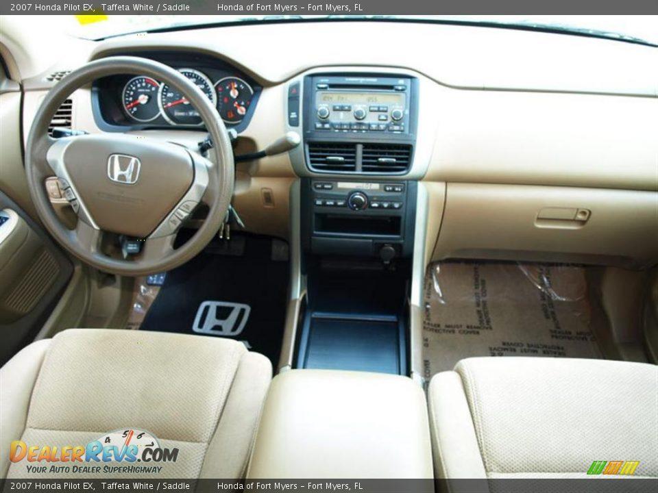 2007 Honda Pilot EX Taffeta White / Saddle Photo #9   DealerRevs.com