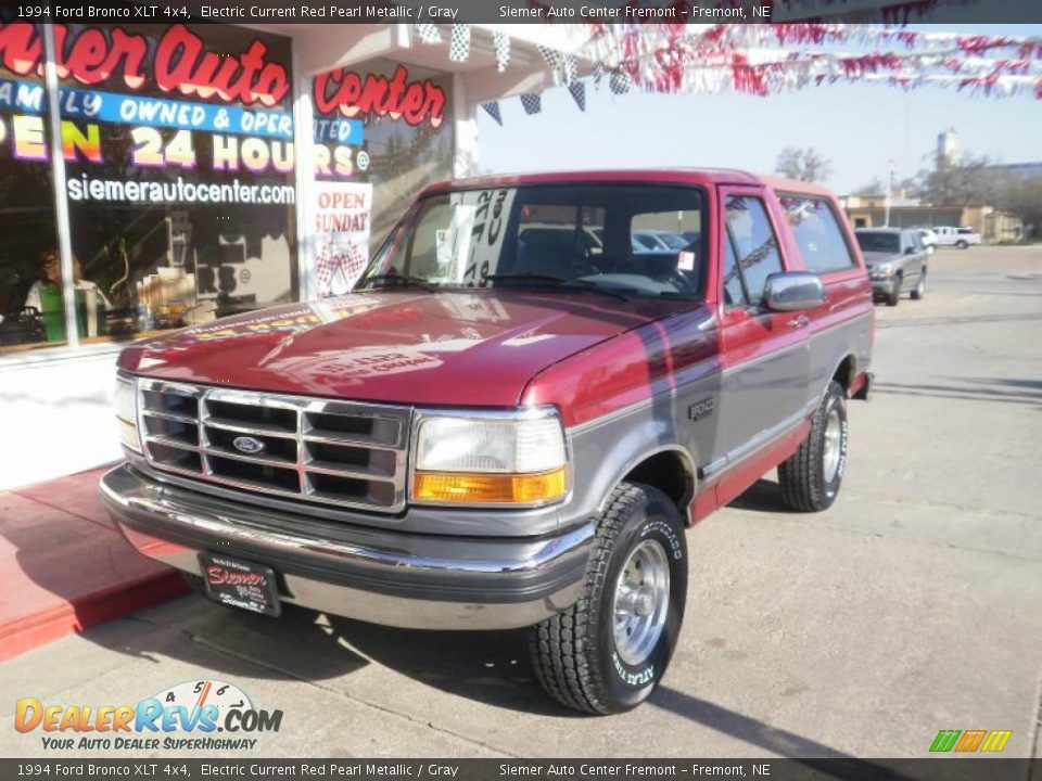 1994 Ford Bronco XLT 4x4 Electric Current Red Pearl Metallic / Gray ...