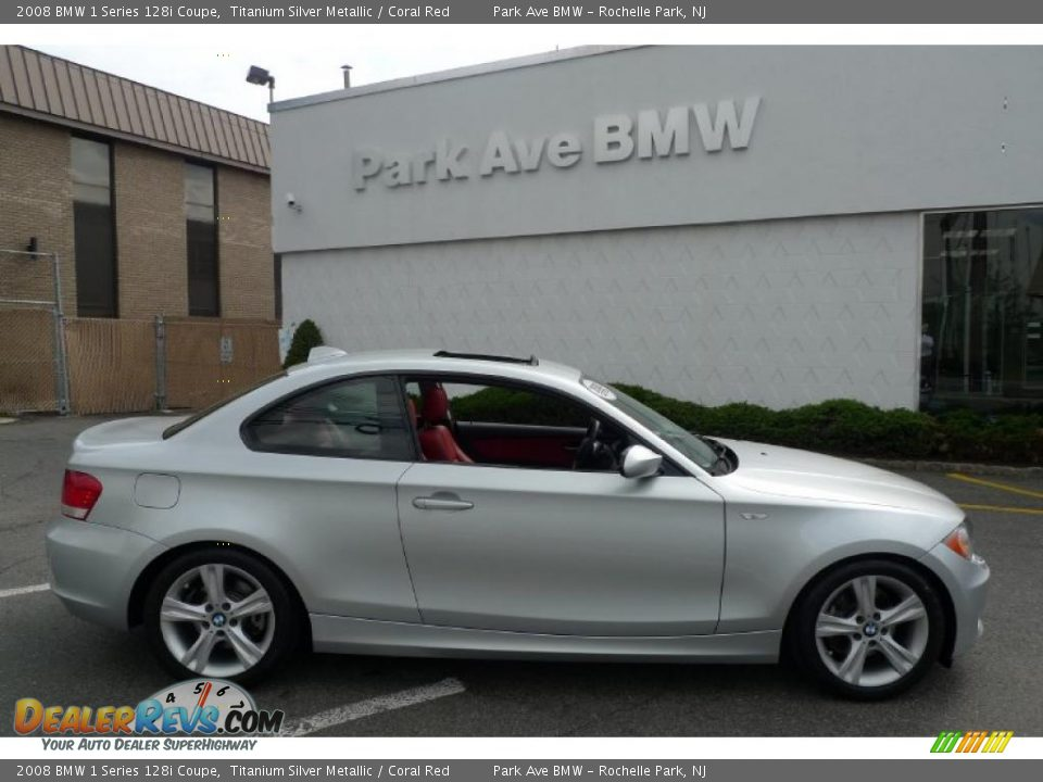 2008 bmw 1 series 128i coupe titanium silver metallic coral red photo 1. Black Bedroom Furniture Sets. Home Design Ideas