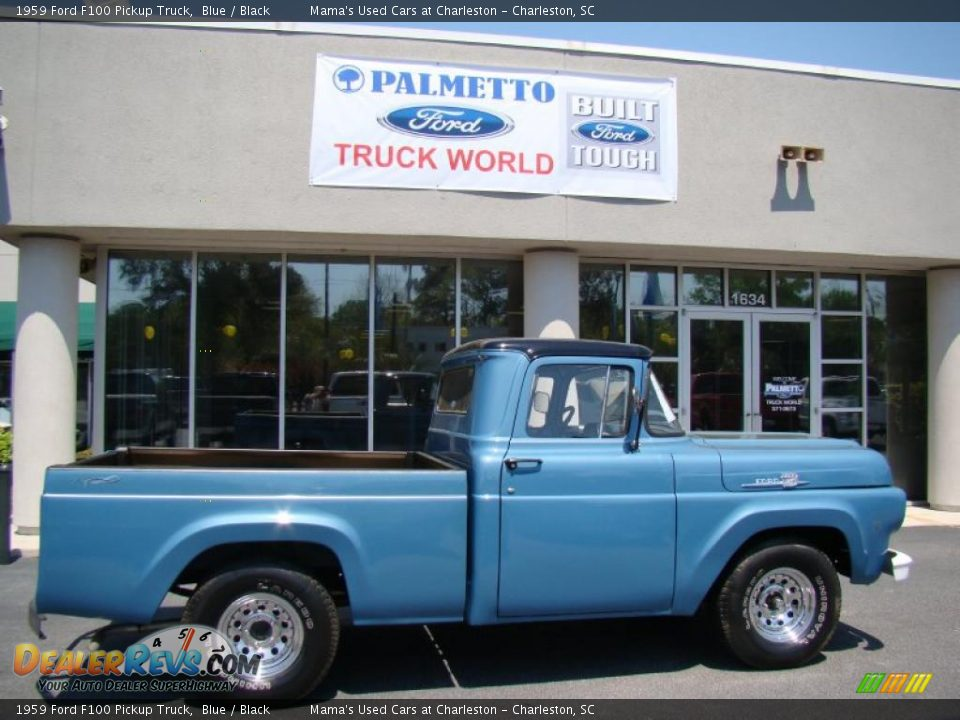 1959 Ford F100 Pickup Truck Blue / Black Photo #1