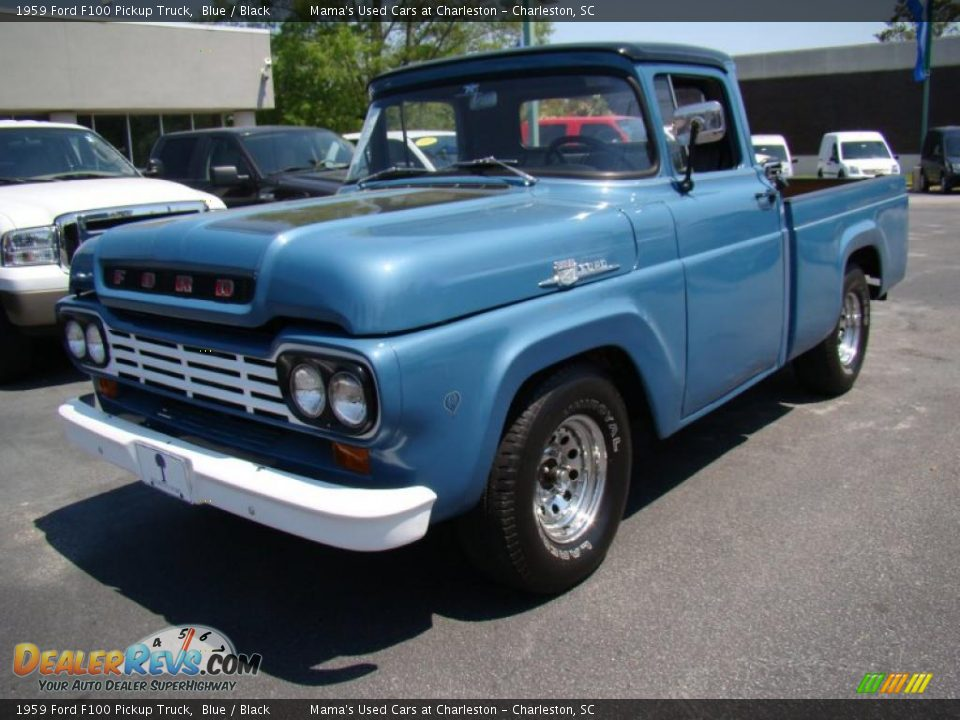 1959 Ford F100 Pickup Truck Blue / Black Photo #3