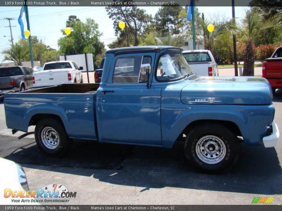 1959 Ford F100 Pickup Truck Blue / Black Photo #6