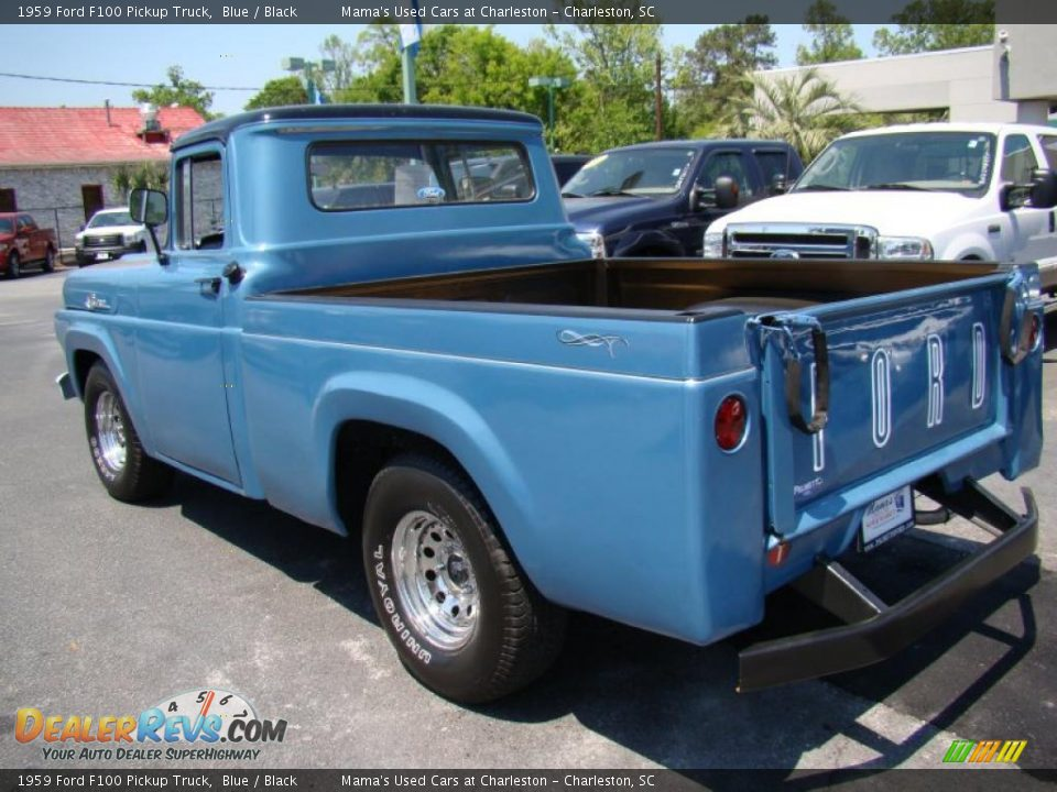 1959 Ford F100 Pickup Truck Blue / Black Photo #9