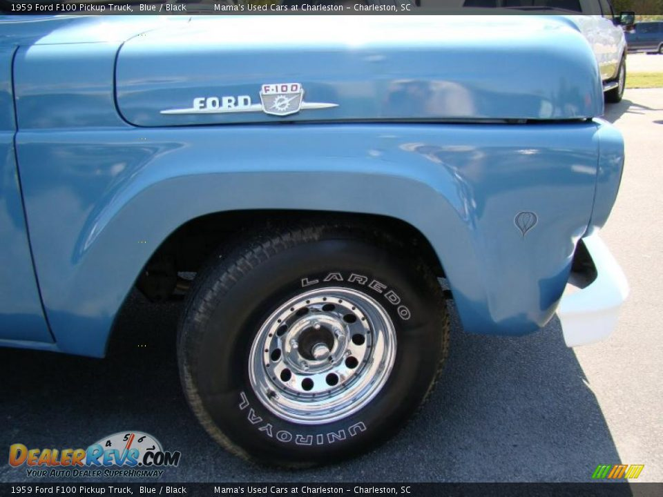 1959 Ford F100 Pickup Truck Blue / Black Photo #27