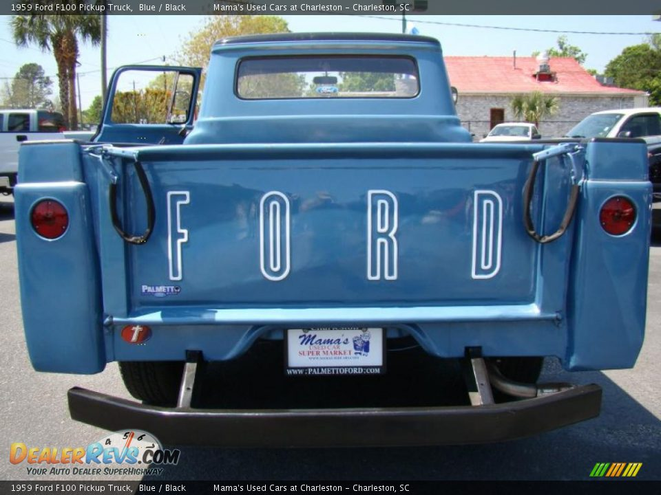 1959 Ford F100 Pickup Truck Blue / Black Photo #30